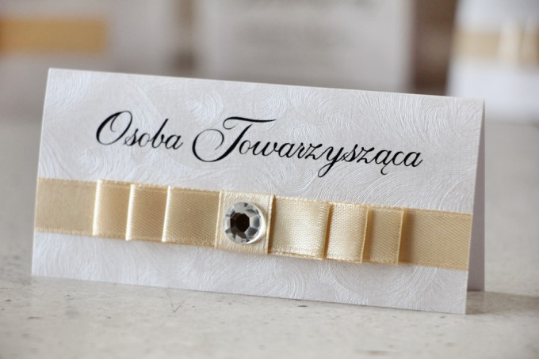 Winietki na stół weselny, ślub - Amaretto nr 1 - Klasyczne, eleganckie, ecru i srebro, papier perłowy