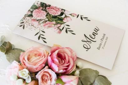Menu weselne. Grafika z nadrukiem pastelowych róż i białych hortensji z zielonymi gałązkami