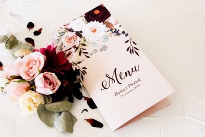 Menu weselne. Grafika z nadrukiem dalii i różowych, pastelowych róż