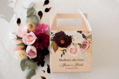 Kwadratowe Pudełko na Ciasto weselne z nadrukiem dalii i różowych, pastelowych róż