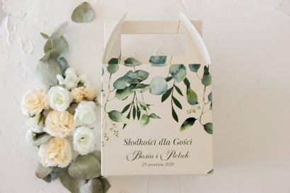 Kwadratowe Pudełko na Ciasto weselne z nadrukiem liści eukaliptusa