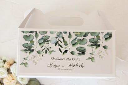 Prostokątne Pudełko na Ciasto weselne z nadrukiem liści eukaliptusa