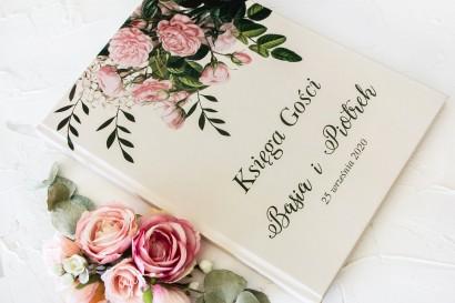 Ślubna, weselna Księga Gości z nadrukiem pastelowych róż i białych hortensji z zielonymi gałązkami