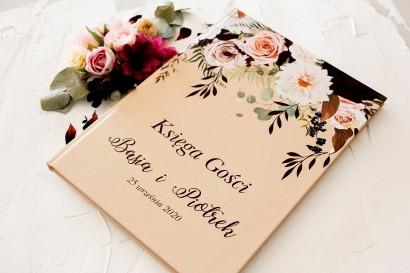 Ślubna, weselna Księga Gości z nadrukiem dalii i różowych, pastelowych róż