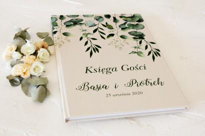 Ślubna, weselna Księga Gości z nadrukiem liści eukaliptusa