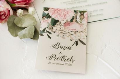 Nasiona - podziękowania, upominki dla gości weselnych z nadrukiem pastelowych róż i białych hortensji z zielonymi gałązkami