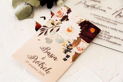Nasiona - podziękowania, upominki dla gości weselnych z nadrukiem dalii i różowych, pastelowych róż