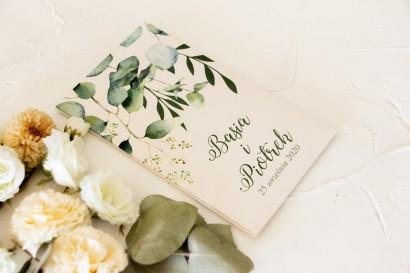 Nasiona - podziękowania, upominki dla gości weselnych z nadrukiem liści eukaliptusa
