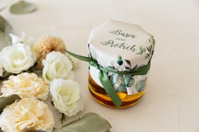 Miody - podziękowania, upominki dla gości weselnych. Kapturek z nadrukiem liści eukaliptusa