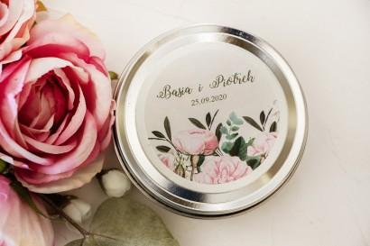 Świeczki Ślubne okrągłe jako Podziękowania dla Gości. Etykieta z nadrukiem pastelowych róż i białych hortensji