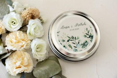 Świeczki Ślubne okrągłe jako Podziękowania dla Gości. Etykieta z nadrukiem liści eukaliptusa