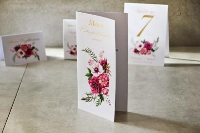 Menu weselne, stół weselny - Cykade nr 5 ze złoceniem - Intensywnie filetowe kwiaty