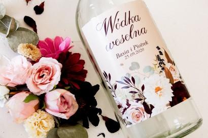 Ślubne Etykiety samoprzylepne na butelki z nadrukiem dalii i różowych, pastelowych róż