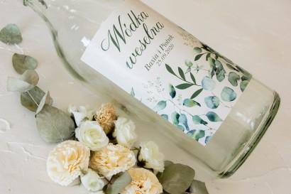Ślubne Etykiety samoprzylepne na butelki z nadrukiem liści eukaliptusa