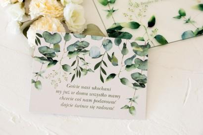 Bilecik do zaproszeń ślubnych z nadrukiem liści eukaliptusa