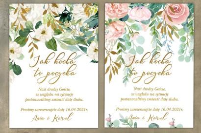 Piękne i eleganckie karty informujące Gości o zmianie daty uroczystości - Jak Kocha to poczeka
