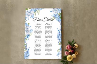 Ślubny Plan stołów z niebieską hortensją