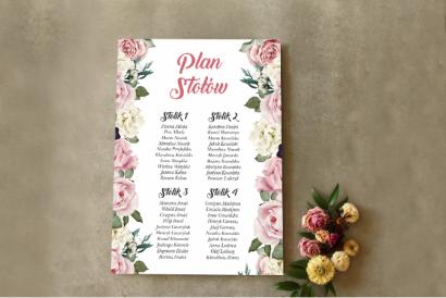 Różowy Ślubny Plan stołów w stylu glamour z różami i białymi piwoniami
