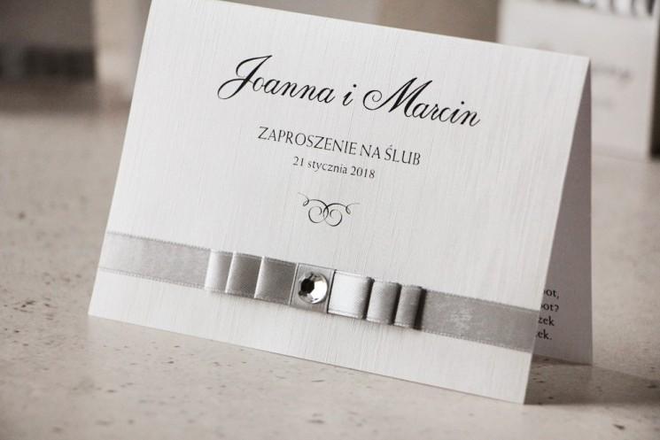 srebrne zaproszenia ślubne