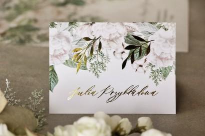 Kwiatowe Winietki ślubne w stylu glamour ze złotymi gałązkami w białej, zimowej kolorystyce