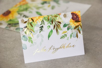 Kwiatowe Winietki ślubne w stylu glamour ze złotymi gałązkami i słonecznikiem, idealne na ślub latem