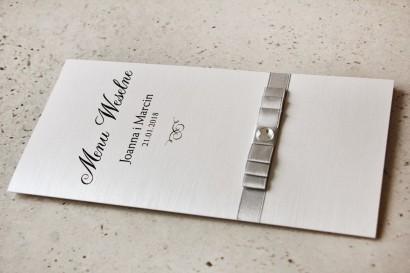 Menu weselne, stół weselny - Amaretto nr 3 - Papier perłowy ze srebrną kokardką i cyrkonią