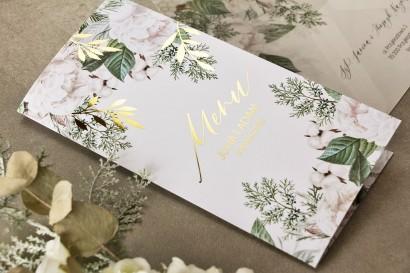 Menu weselne ze złotymi gałązkami w białej, zimowej kolorystyce