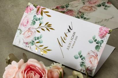 Pastelowe Menu weselne ze złotymi gałązkami w delikatnych kolorach różu i bieli