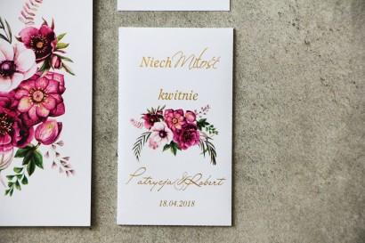 Podziękowania dla Gości weselnych - nasiona Niezapominajki - Cykade nr 5 ze złoceniem - bukiet w odcieniach fioletu.