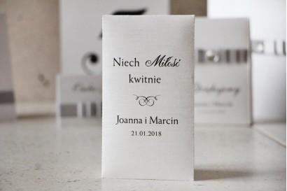 Podziękowania dla Gości weselnych - nasiona Niezapominajki - Amaretto perłowy len
