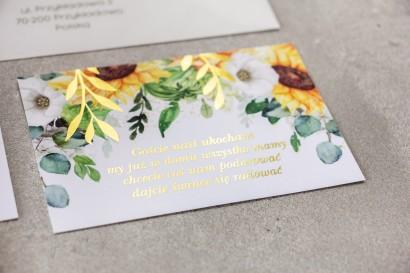 Bilecik do zaproszeń ślubnych ze złotymi gałązkami i słonecznikiem, idealny na ślub latem