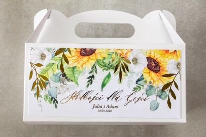 Pudełko na ciasto weselne (prostokątne) ze złotymi gałązkami i słonecznikiem, idealne na ślub latem