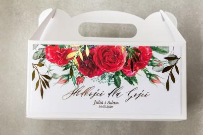 Pudełko na ciasto weselne (prostokątne) ze złotymi gałązkami i bordowymi różami