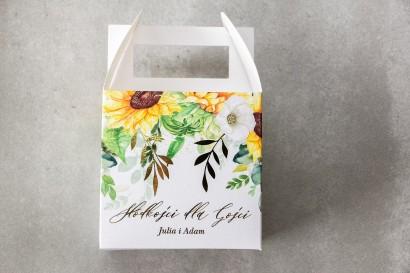Pudełko na Ciasto weselne (kwadratowe) ze złotymi gałązkami i słonecznikiem, idealne na ślub latem