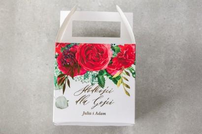 Pudełko na Ciasto weselne (kwadratowe) ze złotymi gałązkami i bordowymi różami