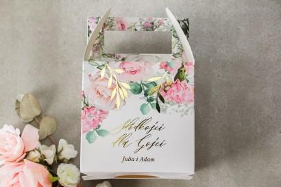 Pudełko na Ciasto weselne (kwadratowe) ze złotymi gałązkami w delikatnych kolorach różu i bieli