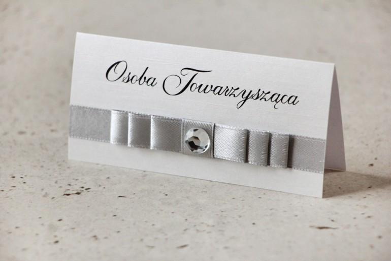 Winietki na stół weselny, ślub - Amaretto nr 3 - Papier perłowy, szarości i srebro, z cyrkonią