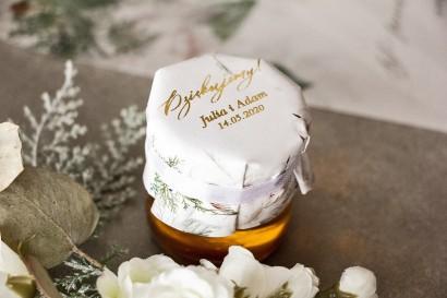 Słoiczek z miodem - słodkie podziękowanie dla gości weselnych. Kapturek w białej, zimowej kolorystyce