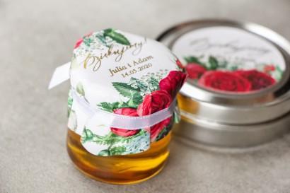 Słoiczek z miodem - słodkie podziękowanie dla gości weselnych. Kapturek z bordowymi różami