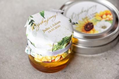 Słoiczek z miodem - słodkie podziękowanie dla gości weselnych. Kapturek ze słonecznikiem, idealne na ślub latem