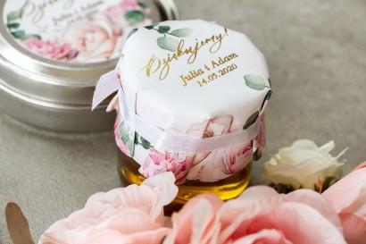 Słoiczek z miodem - słodkie podziękowanie dla gości weselnych. Kapturek w delikatnych kolorach różu i bieli