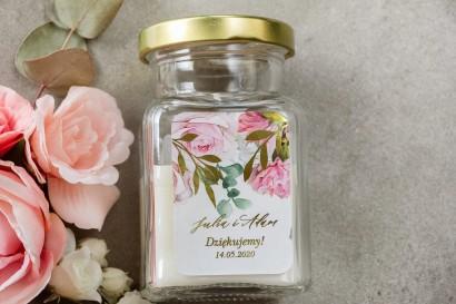 Świeczki - podziękowania dla gości weselnych w stylu Glamour. Etykieta ze złotymi gałązkami w delikatnych kolorach różu i bieli