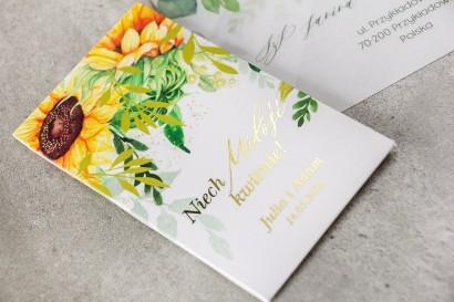 Nasiona Ślubne niezapominajki - Podziękowania dla Gości - Opakowanie ze złotymi gałązkami i słonecznikiem