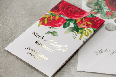 Nasiona Ślubne niezapominajki - Podziękowania dla Gości - Opakowanie ze złotymi gałązkami i bordowymi różami