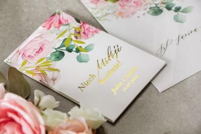 Nasiona Ślubne niezapominajki - Podziękowania dla Gości - Opakowanie ze złotymi gałązkami w delikatnych kolorach różu i bieli