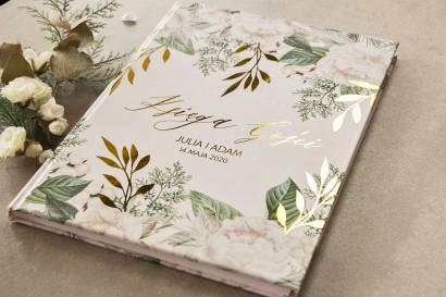 Ślubna Księga Gości ze złotymi gałązkami w białej, zimowej kolorystyce
