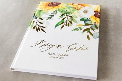 Ślubna Księga Gości ze złotymi gałązkami i słonecznikiem, idealne na ślub latem