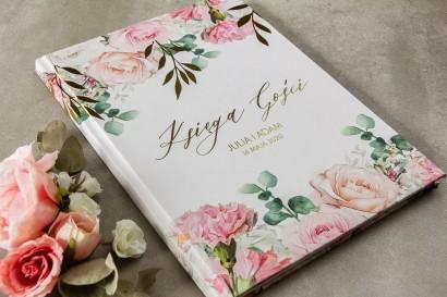 Ślubna Księga Gości ze złotymi gałązkami w delikatnych kolorach różu i bieli