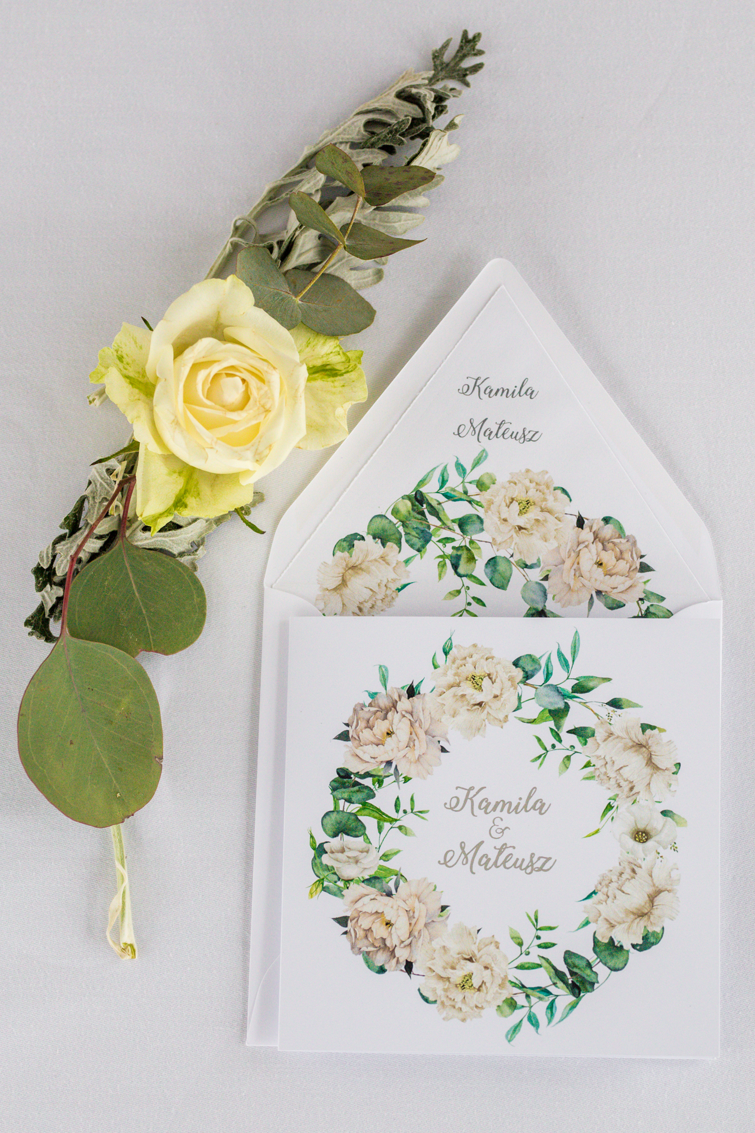Zaproszenie ślubne ze srebrzeniem - Cykade nr 15