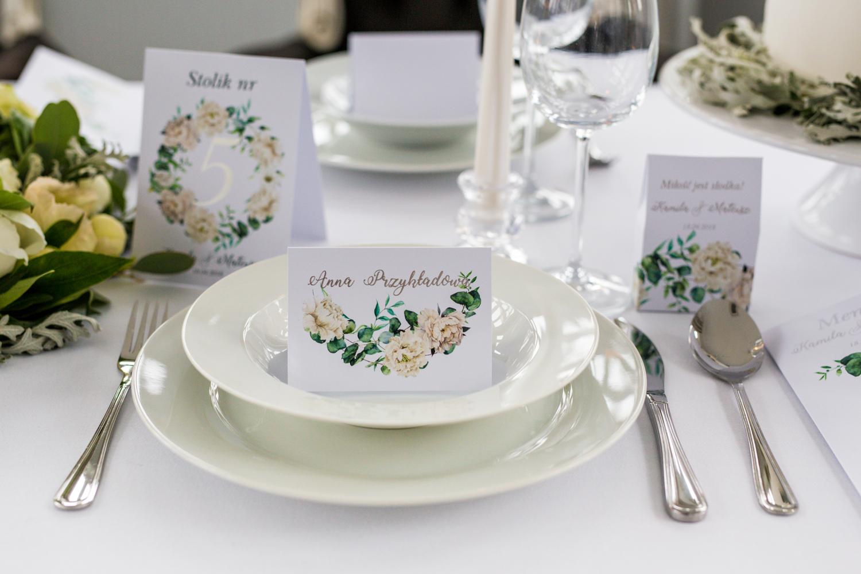 Ślubne winietki, wizytówki na stół weselny ze srebrzeniem - Cykade nr 15